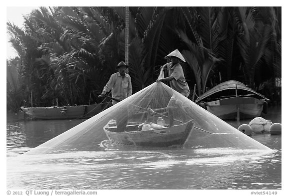 Fisherman pulls up net from rowboat. Hoi An, Vietnam (black and white)
