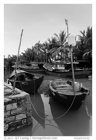 Fishing boats, Cam Kim Village. Hoi An, Vietnam (black and white)