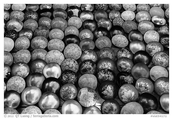 Decorated bowls for sale. Hoi An, Vietnam (black and white)