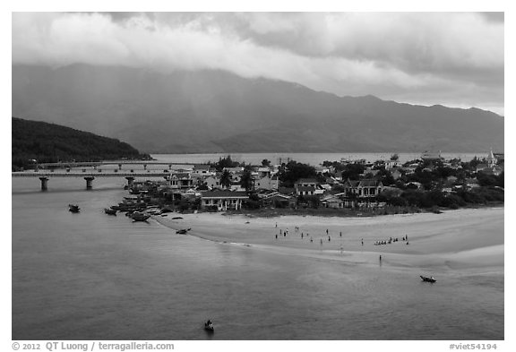 View of village and beach. Vietnam (black and white)