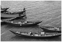 Blue fishing sampans from above. Vietnam (black and white)