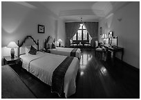 Saigon Morin Hotel guestroom. Hue, Vietnam (black and white)