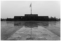 Flag monument in the rain. Hue, Vietnam (black and white)