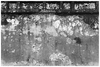 Wall with bullet holes from 1968 Tet Offensive fighting, citadel. Hue, Vietnam (black and white)