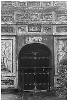 Decorated gate, imperial citadel. Hue, Vietnam (black and white)