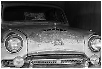 Car in Thich Quang Duc was driven to his self-immolation, Thien Mu pagoda. Hue, Vietnam (black and white)