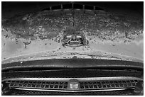 Detail of Austin car, Thien Mu pagoda. Hue, Vietnam (black and white)