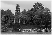 Phuoc Duyen Tower seen from river. Hue, Vietnam (black and white)