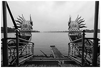 Perfume River seen from Dragon boat. Hue, Vietnam (black and white)
