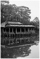 Pavilion on stilts and Luu Khiem Lake, Tu Duc Mausoleum. Hue, Vietnam (black and white)