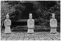 Statues near Hoa Khiem Palace, Tu Duc Mausoleum. Hue, Vietnam (black and white)