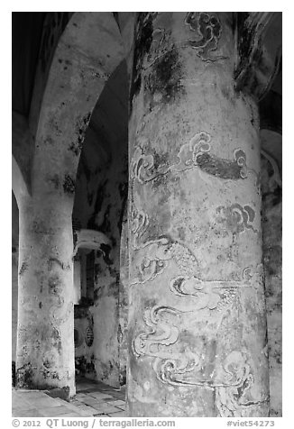 Columns in Stele Pavilion, Tu Duc Mausoleum. Hue, Vietnam (black and white)