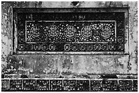 Row of Longevity chinese characters, Tu Duc Tomb. Hue, Vietnam (black and white)