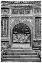 Emperor Tu Duc tomb seen through gate, Tu Duc Tomb. Hue, Vietnam (black and white)