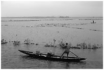Villagers on flooded fields. Hue, Vietnam ( black and white)