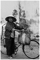 Elderly woman with bicycle, Thanh Toan. Hue, Vietnam ( black and white)