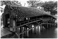 Thanh Toan covered bridge. Hue, Vietnam (black and white)