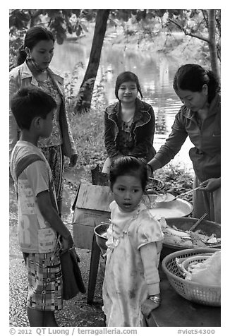 Canal side donut stand, Thanh Toan. Hue, Vietnam (black and white)