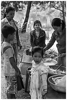 Canal side donut stand, Thanh Toan. Hue, Vietnam ( black and white)