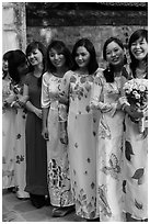 Women in Ao Dai, Temple of the Litterature. Hanoi, Vietnam ( black and white)