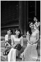 Bridal party, Temple of the Litterature. Hanoi, Vietnam ( black and white)