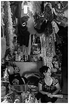 Store selling party costumes and decorations, old quarter. Hanoi, Vietnam ( black and white)