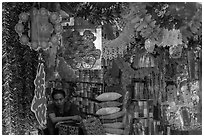 Store selling traditional party decorations, old quarter. Hanoi, Vietnam ( black and white)