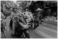 Street scene, old quarter. Hanoi, Vietnam ( black and white)