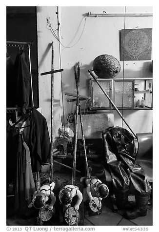 Objects used for water puppetry, Thang Long Theatre. Hanoi, Vietnam (black and white)