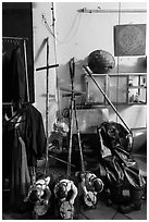 Objects used for water puppetry, Thang Long Theatre. Hanoi, Vietnam ( black and white)