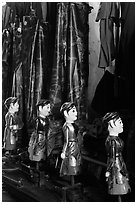Puppets and waterproof bibs, Thang Long Theatre. Hanoi, Vietnam ( black and white)