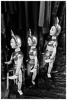 Puppets and clothing worn by water puppeters, Thang Long Theatre. Hanoi, Vietnam ( black and white)