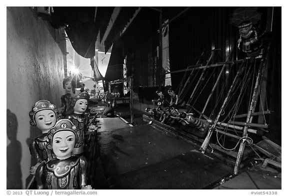Water puppet theater backstage, Thang Long Theatre. Hanoi, Vietnam (black and white)