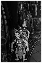 Water puppets controlled using long bamboo rods and string mechanism. Hanoi, Vietnam ( black and white)