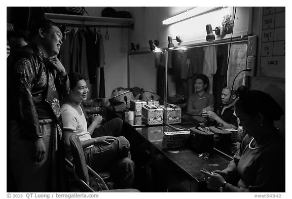 Artists backstage before water puppet performance, Thang Long Theatre. Hanoi, Vietnam