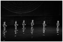 Water puppets (6 characters with lotus), Thang Long Theatre. Hanoi, Vietnam ( black and white)