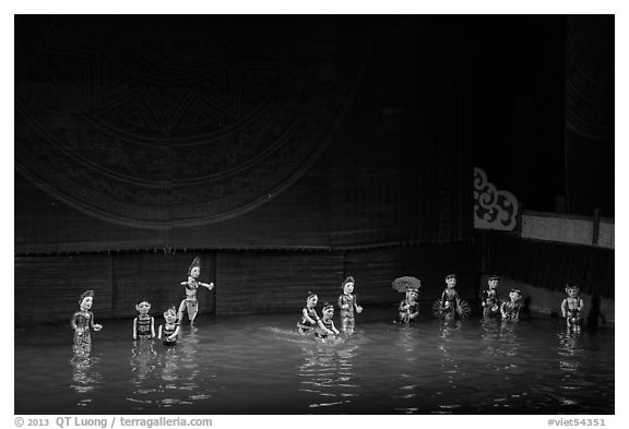 Water puppets (12 characters from various skits), Thang Long Theatre. Hanoi, Vietnam (black and white)