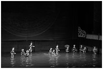 Water puppets (12 characters from various skits), Thang Long Theatre. Hanoi, Vietnam ( black and white)