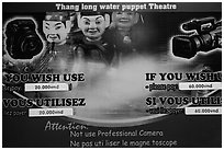 Camera use regulations, Thang Long Theatre. Hanoi, Vietnam (black and white)