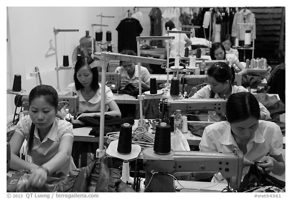Sewing factory. Vietnam (black and white)