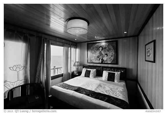 Indochina Sails stateroom and view. Halong Bay, Vietnam (black and white)