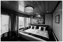Indochina Sails stateroom and view. Halong Bay, Vietnam ( black and white)