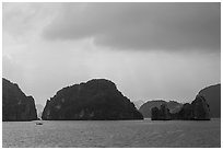 Limestone monolithic islands. Halong Bay, Vietnam ( black and white)