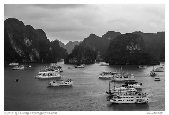 Tour boats and karstic islands from above. Halong Bay, Vietnam (black and white)