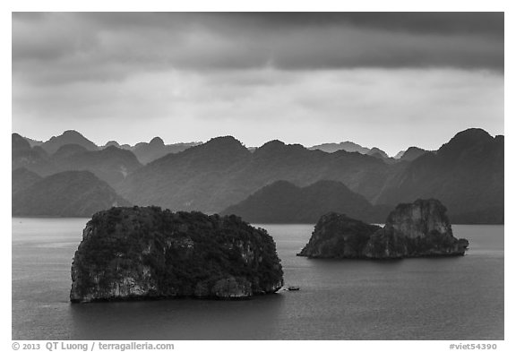 Panoramic view of islets. Halong Bay, Vietnam (black and white)