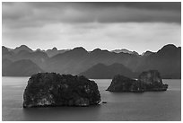 Panoramic view of islets. Halong Bay, Vietnam ( black and white)