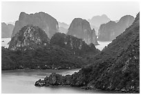 Monolithic karstic islands from above. Halong Bay, Vietnam (black and white)