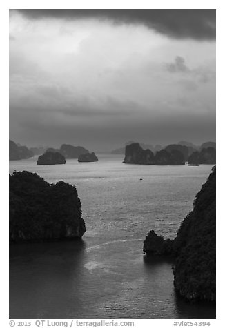 Seascape with limestone islets from above, evening. Halong Bay, Vietnam (black and white)