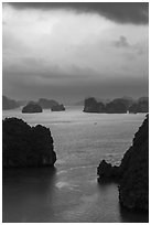 Seascape with limestone islets from above, evening. Halong Bay, Vietnam ( black and white)