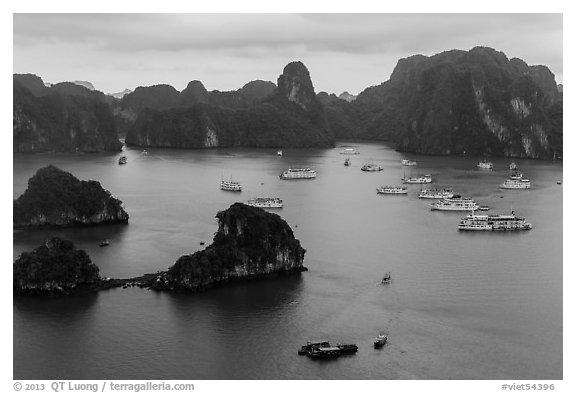 White tour boats and limestone islands covered in tropical vegetation. Halong Bay, Vietnam (black and white)